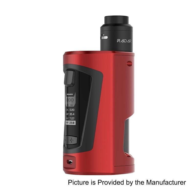 authentic geekvape gbox 200w squonk box mod radar bf rda kit wine red 2 x 18650 8ml 24mm diameter
