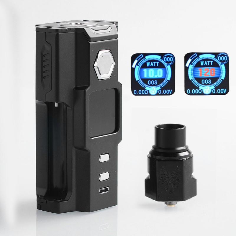 authentic sigelei snowwolf vfeng squonk 120w tc vw box mod bf rda kit black 10120w 6ml 1 x 18650 20700 21700