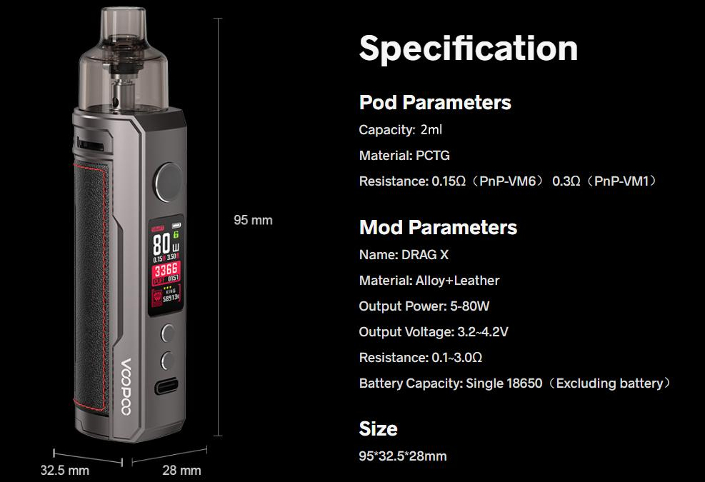 specifications voopoo drag x mod pod kit